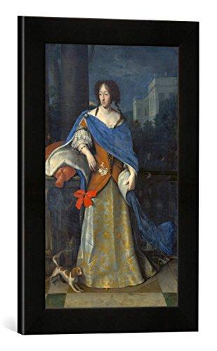"""Gerahmtes Bild von Deutsch """"Kurfürstin Adelheid Henriette mit einem kontinentalen Zwergspaniel"""", Kunstdruck im hochwertigen handgefertigten Bilder-Rahmen, 30×40 cm, Schwarz matt"""