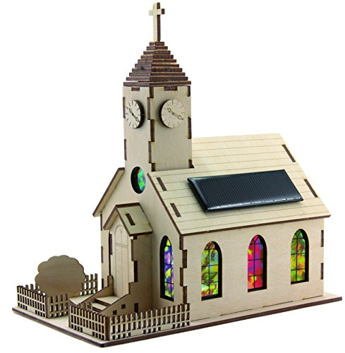 SOL-EXPERT group 40296 – Solar-Kirche Harmony, Bausatz, Holz, natur
