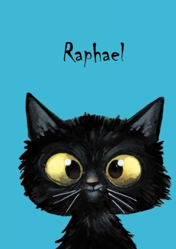 Raphael: Personalisiertes Notizbuch, DIN A5, 80 blanko Seiten mit kleiner Katze auf jeder rechten unteren Seite. Durch Vornamen auf dem Cover, eine … Coverfinish. Über 2500 Namen bereits verf