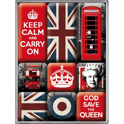Nostalgic-Art 83059 United Kingdom, Magnet-Set, 9-teilig