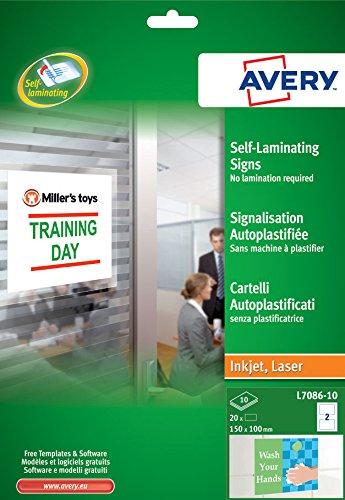 Avery Zweckform L7086-10 Selbstklebende Laminier-Schilder, 150 x 100 mm, foliengeschützt – hochglänzend, 10 Blatt/20 Etiketten, weiß
