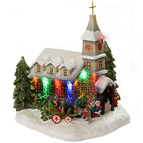 WeRChristmas Polyresin Kirche Weihnachten Deko beleuchtet mit Farbe LED-Lichter, 23 cm