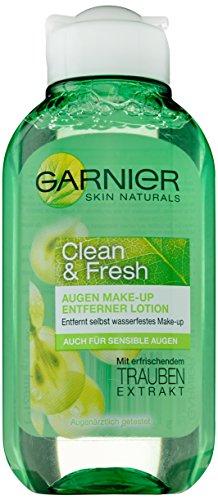 Garnier Clean & Fresh Augen Make-Up Entferner / Abschminkmittel entfernt selbst wasserfestes Make-Up (mit Trauben-Extrakt) Augenärztlich getestet, 1er Pack – 125 ml