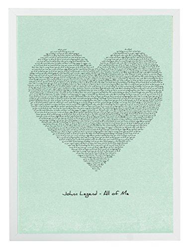 mixpixie typographisches Songtext Kunstdruck–John Legend alle von mir, Herz (grün), Papier