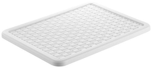 Rotho 1115501100 Deckel zu Aufbewahrungskiste Dekobox Country A4, Maß 37.5 x 28.5 x 1.5 cm (LxBxH), in Rattan-Optik aus Kunststoff (PP), Weiß