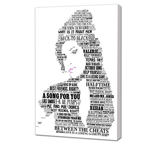 Wunderschöne und einzigartige 40x 30schwarz und weiß Leinwand Kunst Arbeit der Musik Icon Amy Winehouse, von Ihr berühmten Songtext, Kunstdruck auf sich aus einer Aluminium Probar Rahmen