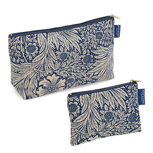 Blue Badge Company Passende Set Bundle Luxus William Morris Ringelblume Indigo Baumwolle Kulturbeutel und Kosmetiktasche mit wasserdicht Futter gepolstert