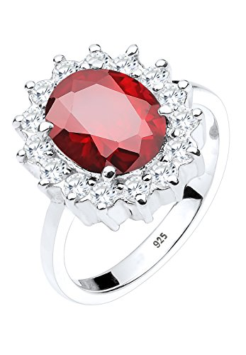 Elli Damen-Ring Cocktailring Verlobungsring 925 Silber Zirkonia Brillantschliff rot Gr. 52 (16.6) – 0605932314_52