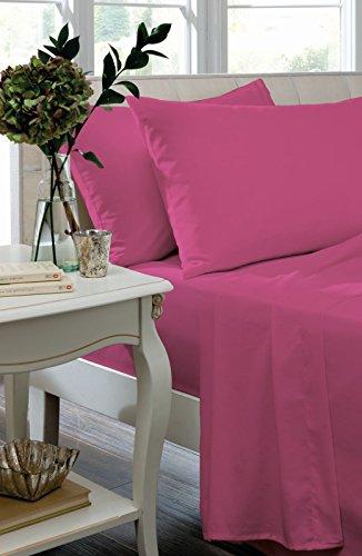 Catherine Lansfield Bügelfreies Bettlaken für ein Einzelbett, Schwarz, Hot Pink, Doppelbett