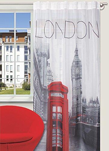 Splendid LONDON Konfektion Vorhang mit verdeckten Schlaufen, 140 x 245 cm, grau