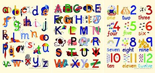 Catherine Schmerzen Educational Poster Set von drei: Alphabet Kleinbuchstaben, Alphabet Großbuchstaben und Zahlen Poster (alle Größe A2420mm x 594mm oder 41,9x 59,4cm)