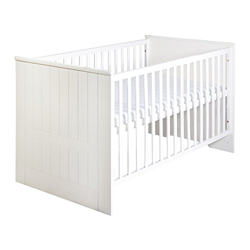 roba Kombi Kinderbett 'Dreamworld 3', 70×140 cm, Babybett gefräst weiß, 3-fach höhenverstellbar, Baby- & Kinderbett umbaubar zum Juniorbett