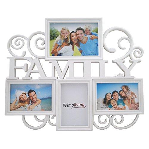 FAMILY Bildergalerie für 4 Bilder in 3D Optik Bilderrahmen in Weiß P-398