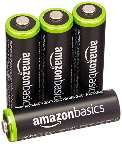 AmazonBasics Vorgeladene Ni-MH AA-Akkus – Akkubatterien (1.000 Zyklen, typisch 2000mAh, minimal 1900mAh) 4 Stck (Äußere Hülle kann von Darstellung abweichen)