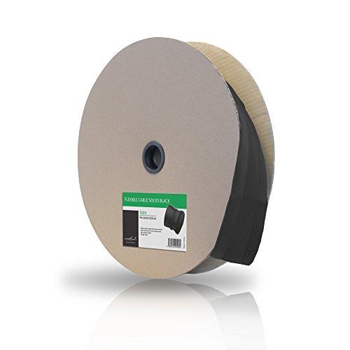 PureMounts PM-SOCKS-85B-50 Universeller Polyester-Kabelschlauch, selbst zusammenziehend  mit Klettverschluss, Ø 85mm, Rolle 50m, schwarz