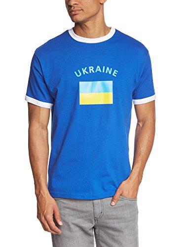Coole-Fun-T-Shirts Herren T-Shirt Ukraine Ringer, blau, L, 10842_Ukraine_HERI_GR.L