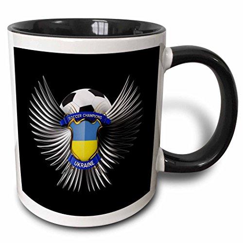 3dRose Ukraine Fußball mit Wappen Team Fußball Ukrainian-Two Ton Tasse, Keramik, Schwarz, 10,2x 7,62x 9,52cm
