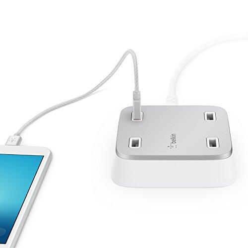 Belkin Family Rockstar 4 fach USB Ladegerät für Tablet/Smartphone (geeignet für iPhone, iPad, iPod, Samsung Galaxy und weitere Geräte) weiß/silber