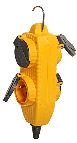 Brennenstuhl 1081071 Powerblock Messerblock mit 4-fach mit Klappdeckel, gelb