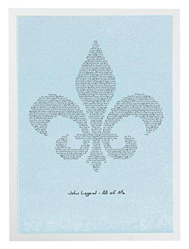 MixPixie typographisches Songtext Kunstdruck–John Legend Alle von Mir, Fleur de Lis (Blau), Papier