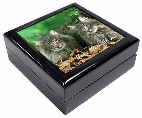 Advanta - Jewellery Boxes Blau flauschig Katzen 'Love You Mum' Andenken/Schmuck Box Weihnachten Geschenk