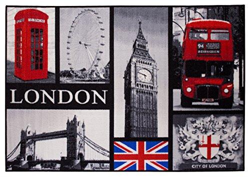London Kurzflorteppich Fototeppich Collage - Big Ben Tower Bridge London Eye Doppeldecker Bus Londoner Telefonzelle  - pflegeleicht strapazierfähig - 80 x 120 cm schwarz