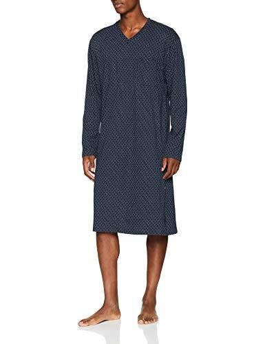 HUBER  Herren Einteiliger Schlafanzug Raphael Nachthemd Langarm, Mehrfarbig (Blue Rain 6689), Medium (Herstellergröße: 4)