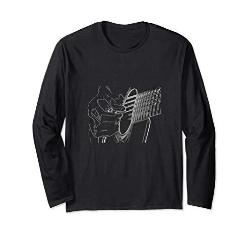 Akustik Gitarre Zeichnung Musiker Geschenk T-Shirt Langarmshirt