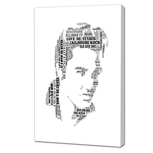 Leinwanddruck mit Musikikone Elvis Presley, wunderschöner und einzigartiger Kunstdruck, Schwarz und Weiß, mit seinen berühmten Songtexten,  auf Aluminium-Probar-Rahmen, Aluminium, Coloured, 40.6cm x 30.5cm (16